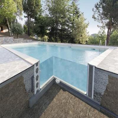 sezione piscina con casseri
